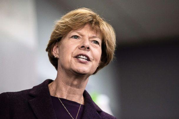 PHOTO: Tammy Baldwin, D-Wis., addresses supporters and workers at the Democratic Party of Rock County office in downtown Janesville, Wis. on Oct. 16, 2018. (Angela Major/The Janesville Gazette via AP)