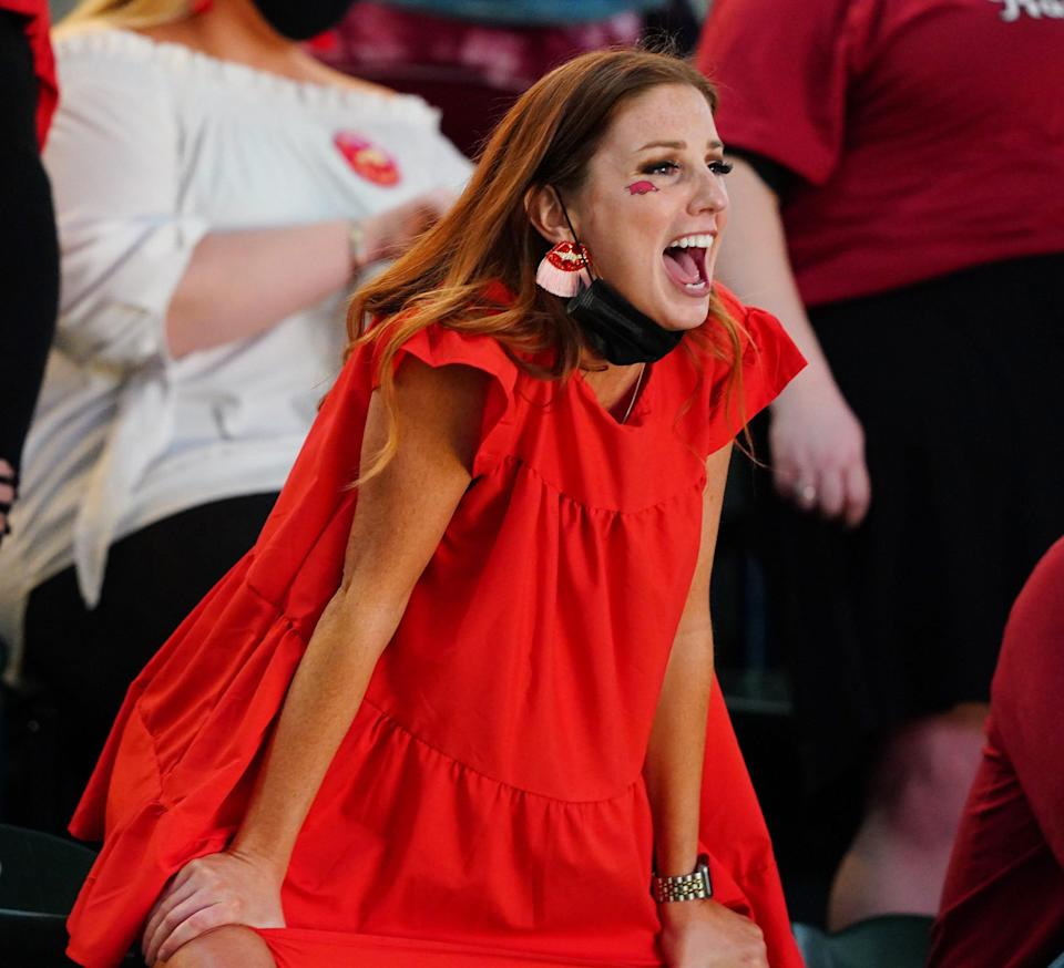 An Arkansas Razorbacks fan cheers during the Sweet 16 game vs. Oral Roberts.
