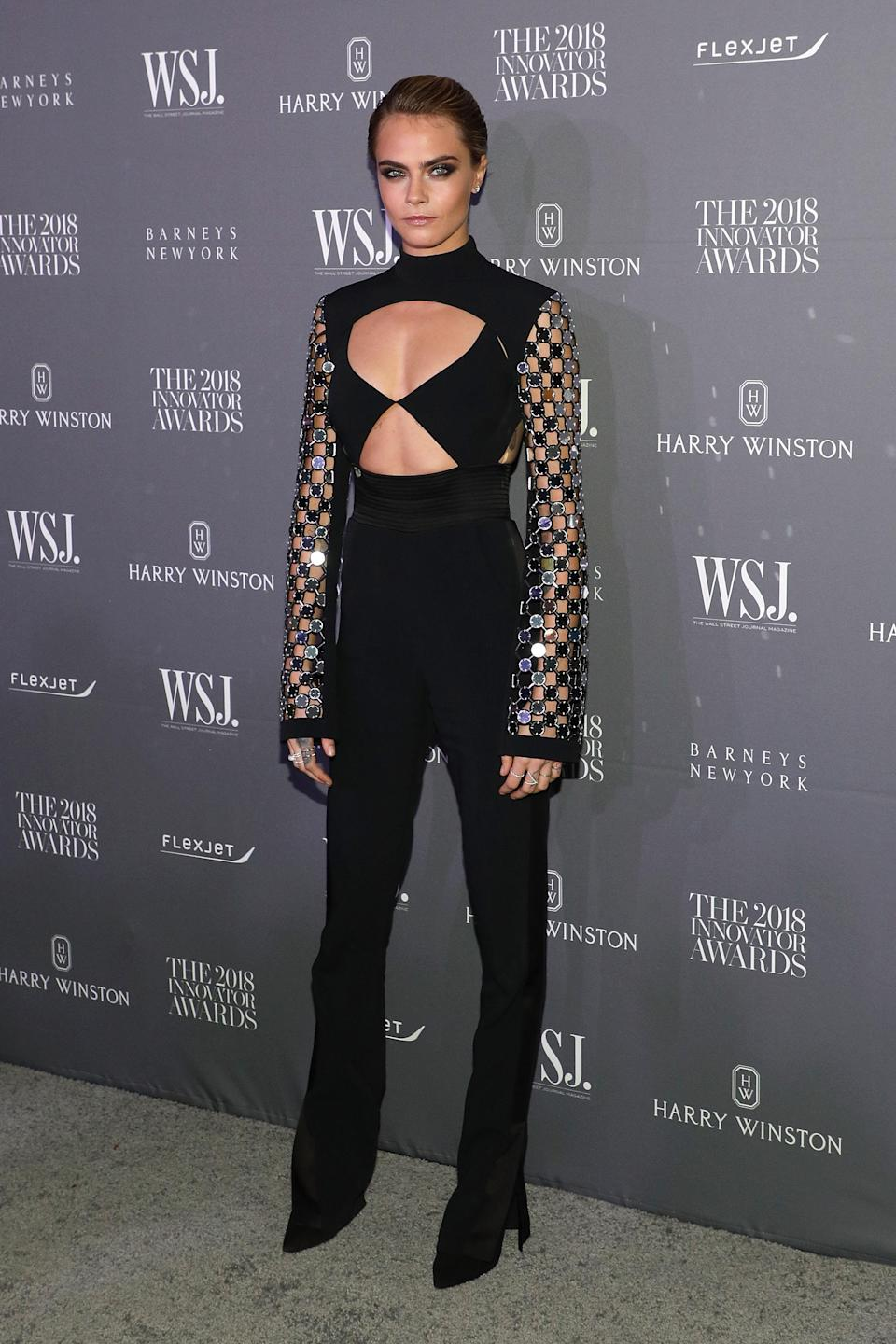 <p>Wearing a look by London Fashion Week label David Koma, the model proved she really can wear anything and make it work at the Innovator Awards. <em>[Photo: Getty]</em> </p>