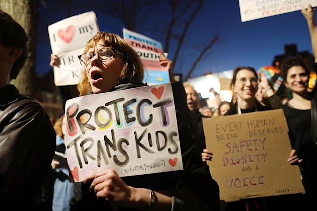 Protest erupted in February after the Trump administration announced it would no longer support protections for transgender students. (Photo: Spencer Platt/Getty Images)