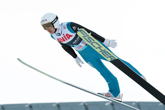 FIS Ski Jumping World Cup - Men's HS134 - Oslo, Norway - March 10, 2018. Simon Ammann of Switzerland competes. NTB Scanpix/Terje Bendiksby via REUTERS ATTENTION EDITORS - THIS IMAGE WAS PROVIDED BY A THIRD PARTY. NORWAY OUT. NO COMMERCIAL OR EDITORIAL SALES IN NORWAY.