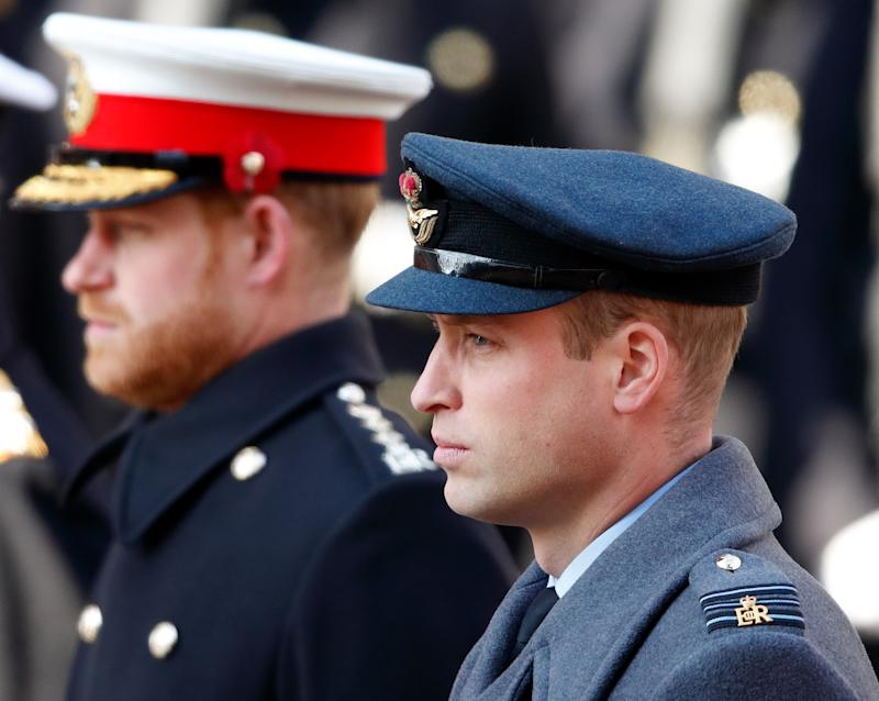 LONDON, UNITED KINGDOM - NOVEMBER 10: (EMBARGOED FOR PUBLICATION IN UK NEWSPAPERS UNTIL 24 HOURS AFTER CREATE DATE AND TIME) Prince Harry, Duke of Sussex and Prince William, Duke of Cambridge attend the annual Remembrance Sunday service at The Cenotaph on November 10, 2019 in London, England. The armistice ending the First World War between the Allies and Germany was signed at Compiegne, France on eleventh hour of the eleventh day of the eleventh month - 11am on the 11th November 1918. (Photo by Max Mumby/Indigo/Getty Images)