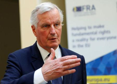 FILE PHOTO: EU's chief Brexit negotiator Barnier talks to journalists in Vienna