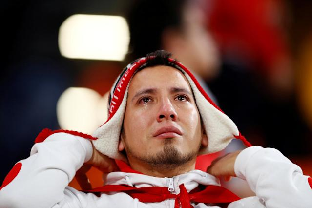 Soccer Football - World Cup - Group C - France vs Peru - Ekaterinburg Arena, Yekaterinburg, Russia - June 21, 2018 Peru fan looks dejected after the match REUTERS/Jason Cairnduff TPX IMAGES OF THE DAY