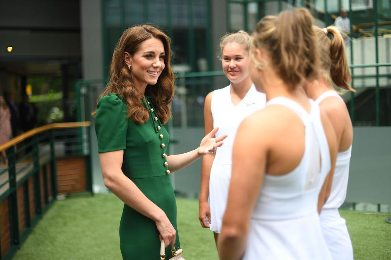 <p>Kate meets tennis players ahead of the women's singles final.</p>