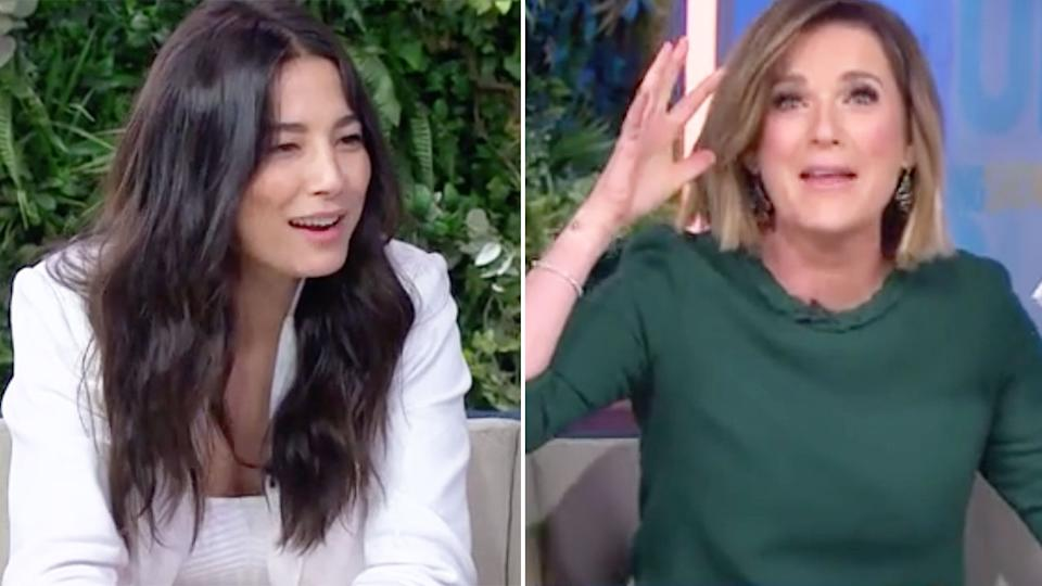 Seen here, Jessica Gomes reacts to an awkward segment on 7's The Morning Show.