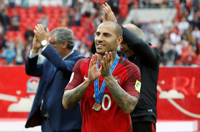Soccer Football - Portugal v Mexico - FIFA Confederations Cup Russia 2017 - Third Placed Play Off - Spartak Stadium, Moscow, Russia - July 2, 2017 Portugal's Ricardo Quaresma celebrates with his medal after the game REUTERS/Sergei Karpukhin