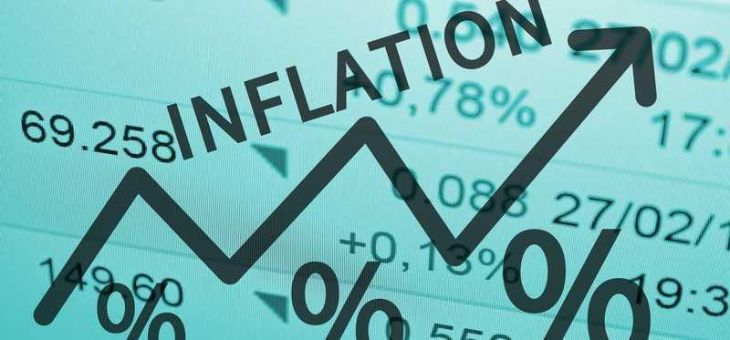 A blue chart with the word inflation.