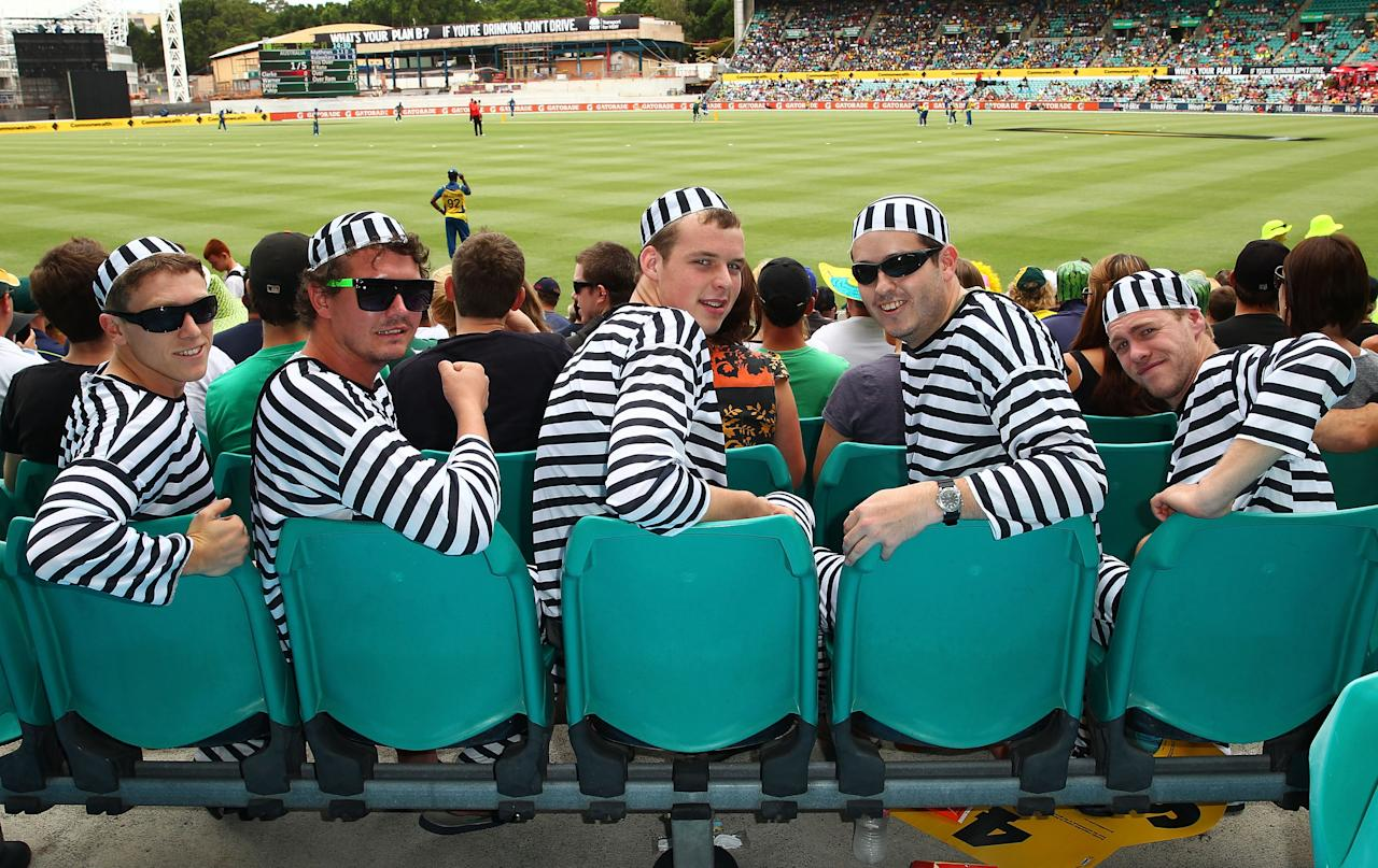 SYDNEY, AUSTRALIA - JANUARY 20:  Cricket fans dressed up in costume  look on during game four of the Commonwealth Bank one day international series between Australia and Sri Lanka at Sydney Cricket Ground on January 20, 2013 in Sydney, Australia.  (Photo by Don Arnold/Getty Images)