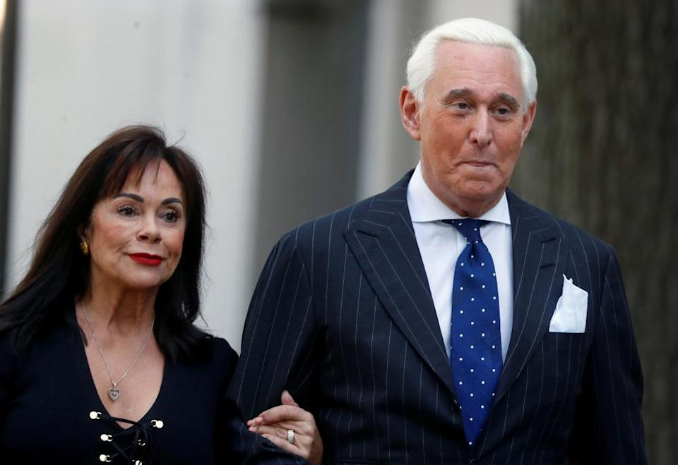 Roger Stone and his wife Nydia outside court in Washington in November. The Stones denied Bennett's claim as 'categorically false and completely illogical'.