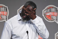 Class of 2021 inductee Ben Wallace wipes his eyes during a news conference for the Basketball Hall of Fame, Friday, Sept. 10, 2021, at Mohegan Sun in Uncasville, Conn. (AP Photo/Jessica Hill)