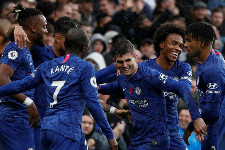 Christian Pulisic (centre) celebrates Chelsea's second goal in a 2-0 win over Crystal Palace
