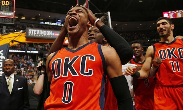 """<span class=""""element-image__caption"""">Russell Westbrook broke the NBA record for triple-doubles this season. </span> <span class=""""element-image__credit"""">Photograph: Jack Dempsey/AP</span>"""