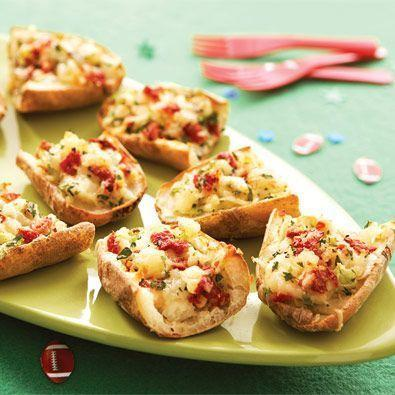 """<p>These crispy skins are loaded with two kinds of cheese, sun-dried tomatoes, and sour cream.</p><p><strong><em><a href=""""https://www.womansday.com/food-recipes/food-drinks/recipes/a21646/potato-skins/"""" rel=""""nofollow noopener"""" target=""""_blank"""" data-ylk=""""slk:Get the Extra Point Potato Skins recipe"""" class=""""link rapid-noclick-resp"""">Get the Extra Point Potato Skins recipe</a>.</em></strong></p>"""