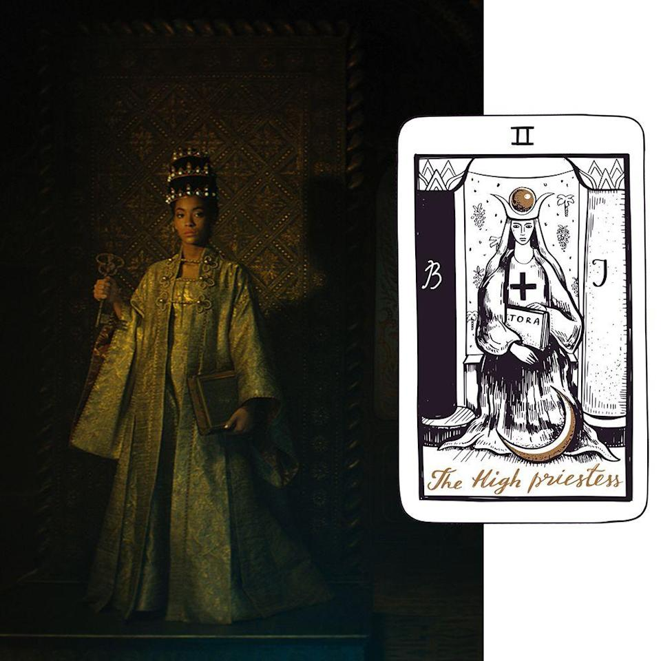<p>Pulling this card symbolises the all-knowing and the divine feminine. The High Priestess unlocks mysteries, hidden talents, and life's lessons, and in doing so, allows one to look within. All about intuition and self-discovery, this figure is the final stage in the coming-of-age story of the tarot deck's Major Arcana cards, the 22 big archetypal characters in the deck. She points to uncovering one's own secrets and tapping into intuition. And with that sense of maturity comes trust in oneself. This character symbolises one's force of guidance coming from within, where one's internal voice (read: your gut feeling) is trusted above all other distractions and external forces, even ego.</p><p>The card's moon symbols represent the culmination of femininity and womanhood. This figure is all goddesses in one embodiment; she holds a book, which is understood to be the Torah, Bible, Quran, or the Book of Life in her hands. Chiuri, it seems, opted to include a key in her rendering, a nonreligious take on unlocking one's potential and divinity. Chiuri dresses her High Priestess in a regal robe and crown worthy of an all-knowing goddess who has come into her own. The film's protagonist pulls the card, thus beginning her journey to a more evolved understanding of self—by trusting her intuition and exploring her feminine power.</p>