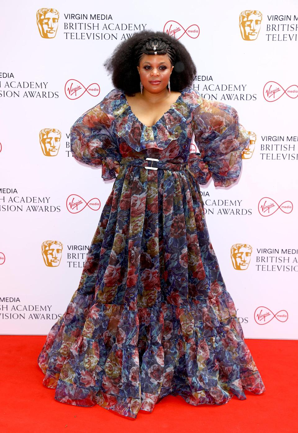 <p>Gbemisola Ikumelo wore a floral gown with ruffle details.</p>