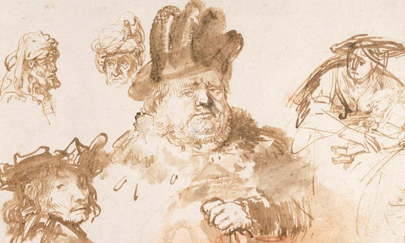 Detail from a sheet of figure studies by Rembrandt owned by Birmingham's Barber Institute that will be on show at the National Portrait Gallery.