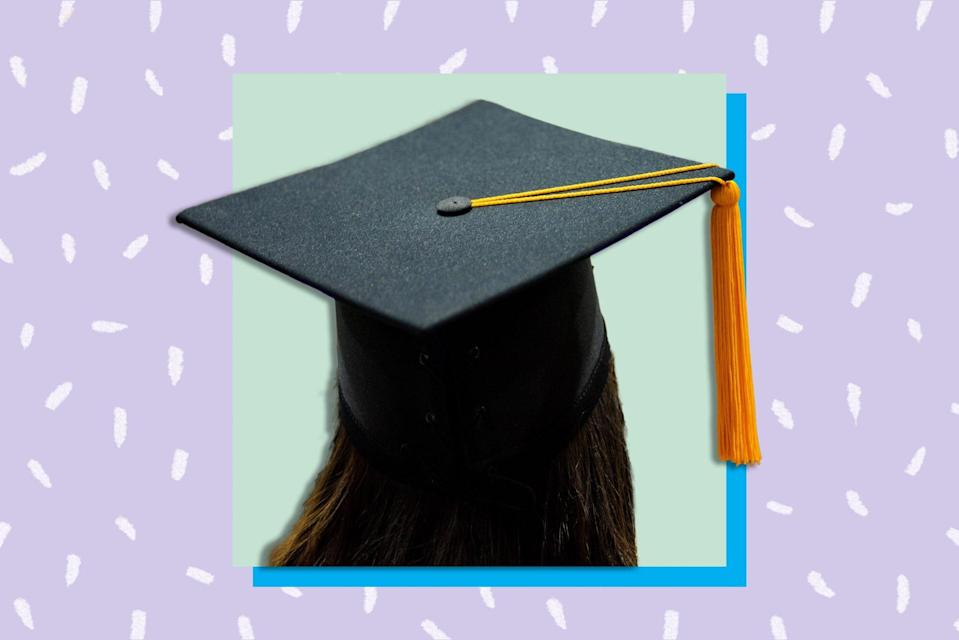 An image of a girl in a graduation cap.