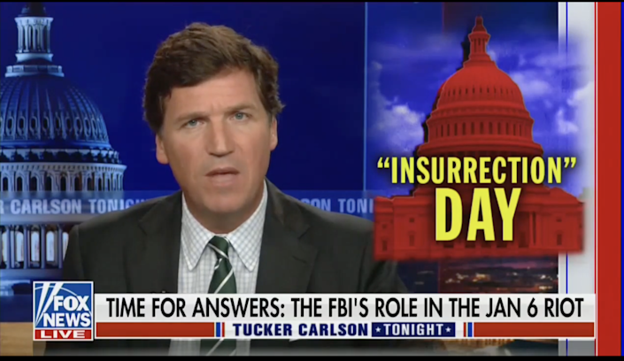 Tucker Carlson is not backing down on baseless accusations that the FBI were involved in the 6 January attack on the Capitol (Fox News )