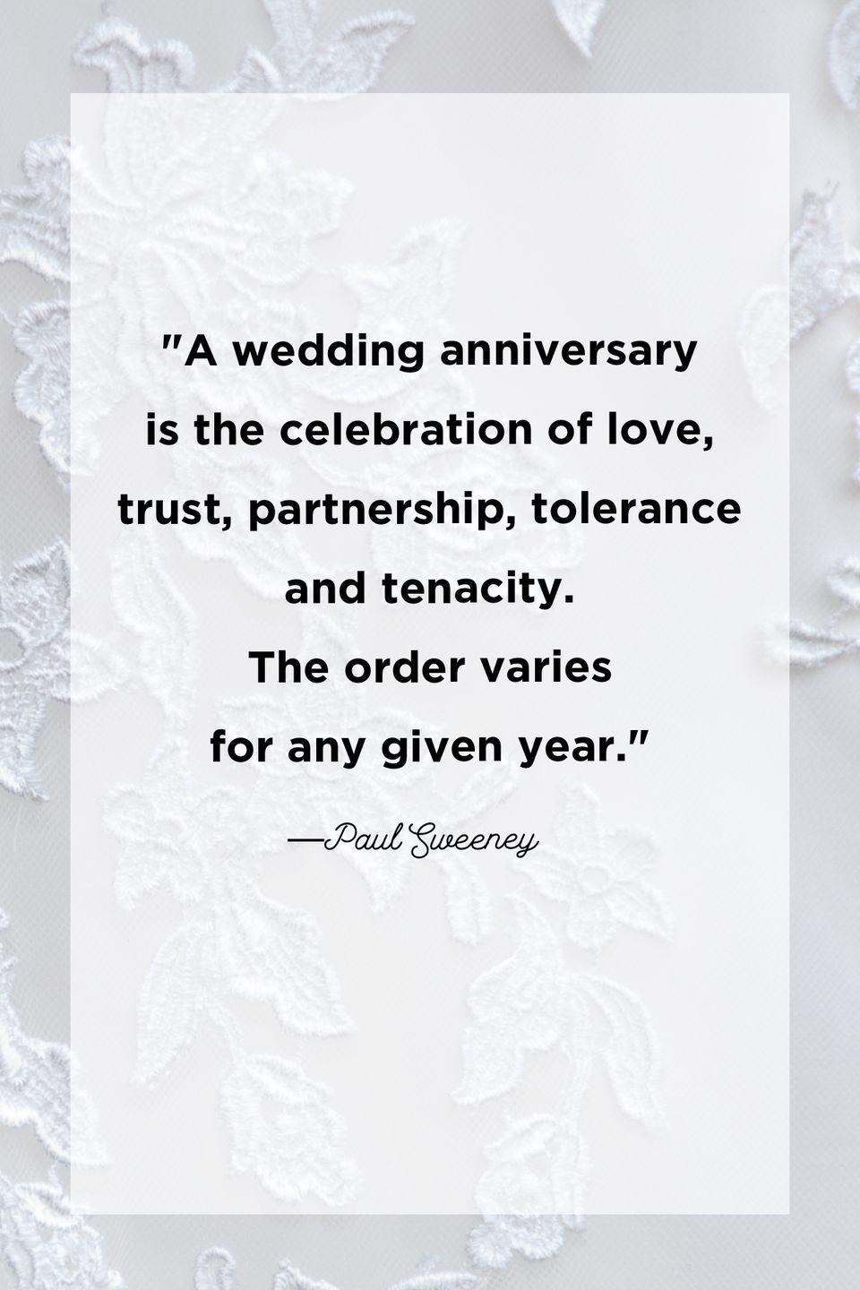 """<p>""""A wedding anniversary is the celebration of love, trust, partnership, tolerance and tenacity. The order varies for any given year.""""</p>"""