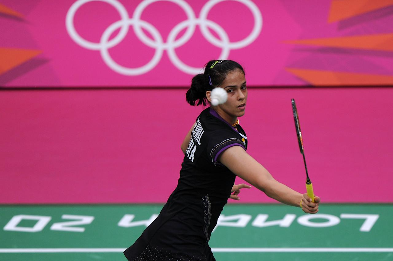 LONDON, ENGLAND - AUGUST 03:  Saina Nehwal of India in action in the Women's Singles Badminton Semi-Final against Yihan Wang of China on Day 7 of the London 2012 Olympic Games at Wembley Arena on August 3, 2012 in London, England.  (Photo by Michael Regan/Getty Images)