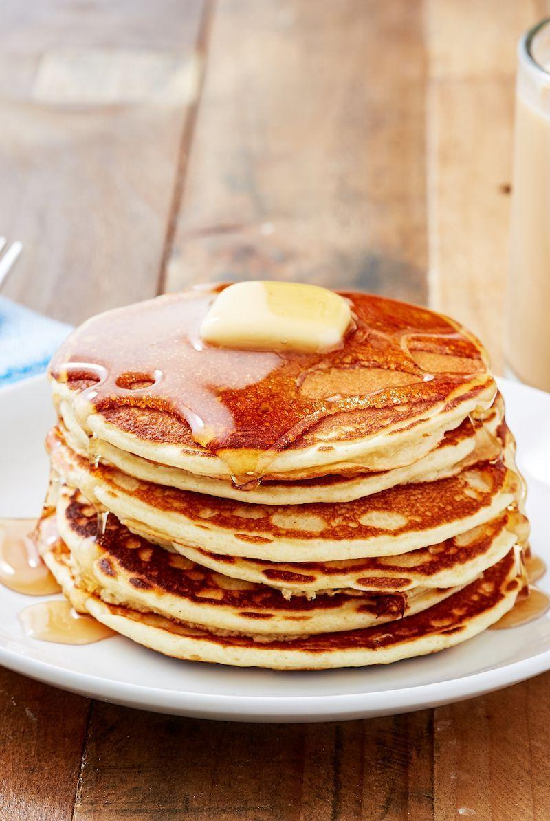 """<p>Look no further for the perfect homemade pancake recipe! Served with some oven-baked bacon, <a href=""""https://www.delish.com/uk/cooking/recipes/a29577587/english-breakfast-traybake/"""" rel=""""nofollow noopener"""" target=""""_blank"""" data-ylk=""""slk:breakfast"""" class=""""link rapid-noclick-resp"""">breakfast</a> couldn't be any more perfect.</p><p>Get the <a href=""""https://www.delish.com/uk/cooking/recipes/a30413750/perfect-pancakes-recipe/"""" rel=""""nofollow noopener"""" target=""""_blank"""" data-ylk=""""slk:Perfect Pancakes"""" class=""""link rapid-noclick-resp"""">Perfect Pancakes</a> recipe.</p>"""