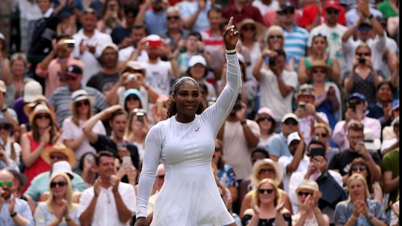 Serena Williams chalked up her 90th win at Wimbledon on Monday in her 100th match