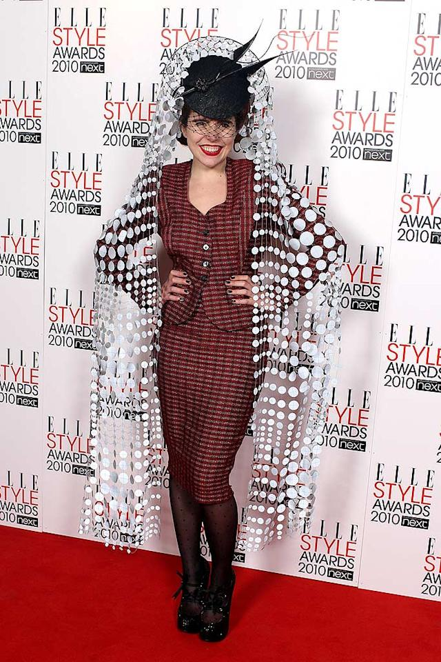 """British singer/songwriter Paloma Faith filled the role Lady Gaga usually does on red carpets across the pond. What do you think she was going for with this head-mistress-meets-the-shower-curtain look? Mike Marsland/<a href=""""http://www.wireimage.com"""" target=""""new"""">WireImage.com</a> - February 22, 2010"""