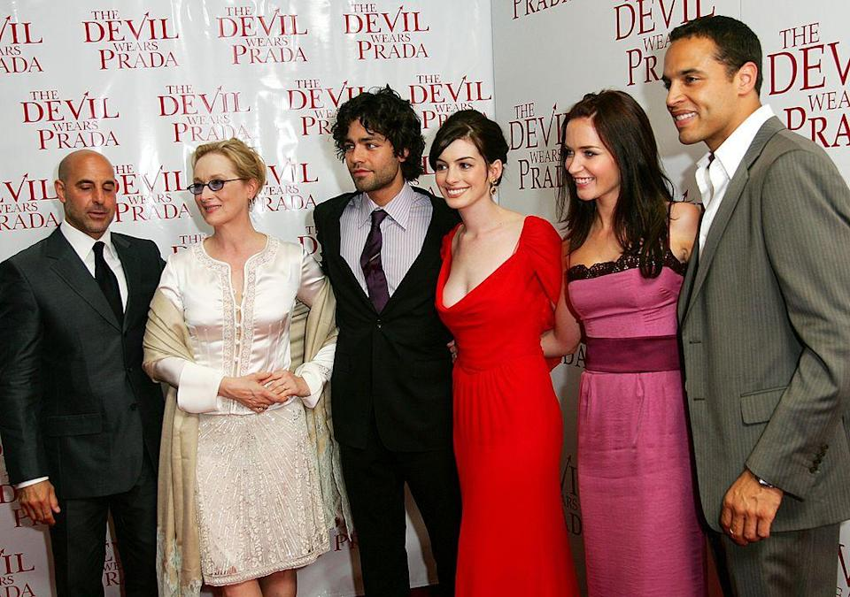 NEW YORK - JUNE 19: (L-R) Actors Stanley Tucci, Meryl Streep, Adrian Grenier, Anne Hathaway, Emily Blunt and Daniel Sunjata attend the 20th Century Fox premiere of The Devil Wears Prada at the Loews Lincoln Center Theatre on June 19, 2006 in New York City. (Photo by Evan Agostini/Getty Images)