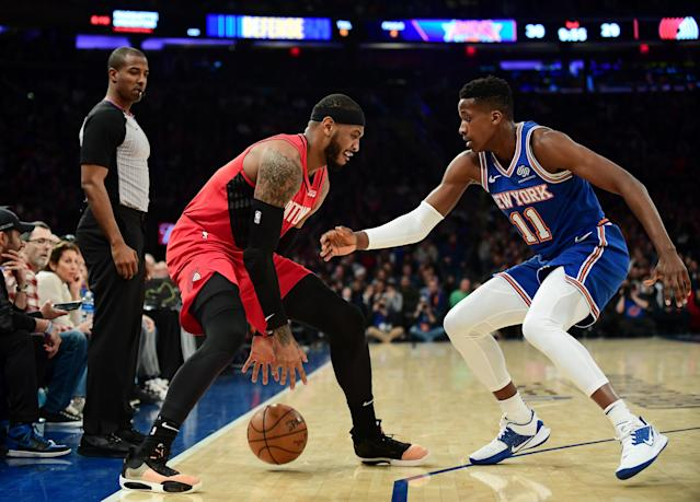 The Blazers' Carmelo Anthony works against the Knicks' Frank Ntilikina on Wednesday in the Garden. (Photo by Emilee Chinn/Getty Images)
