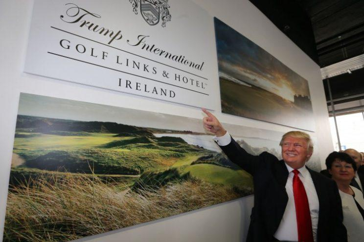 Donald Trump arrives at Shannon Airport to visit his newly bought golf course in Doonbeg, Ireland. (AP/2014)