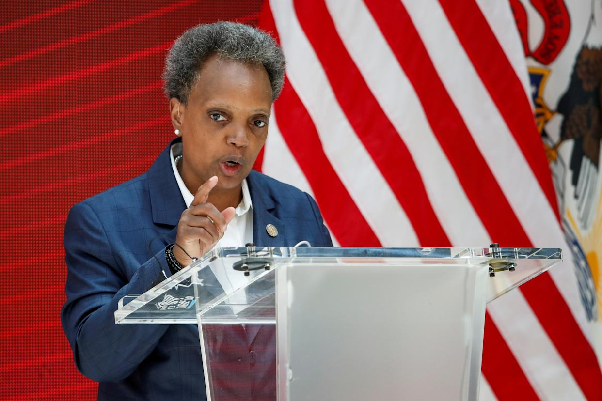 Mayor Lori Lightfoot of Chicago adresses a science initiative event at the University of Chicago in 2020.