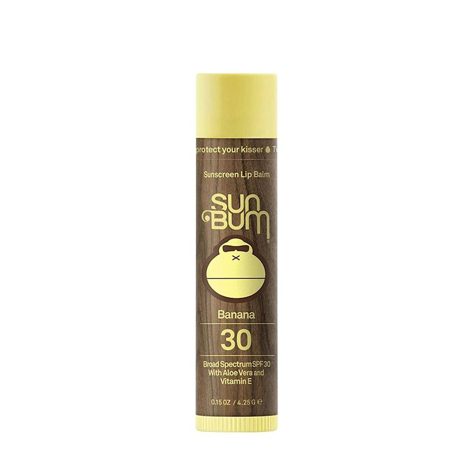 """<p><strong>Sun Bum</strong></p><p>ulta.com</p><p><strong>$3.99</strong></p><p><a href=""""http://www.amazon.com/dp/B009NCWNQ0/?tag=syn-yahoo-20&ascsubtag=%5Bartid%7C2139.g.19547315%5Bsrc%7Cyahoo-us"""" target=""""_blank"""">BUY IT HERE</a></p><p>Soothing aloe vera and softening cocoa butter provide a one-two punch for any guy to win the battle against chapped lips.</p>"""