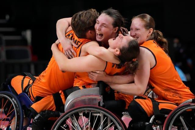 The Netherlands celebrate after defeating Germany in the women's wheelchair basketball semi-final