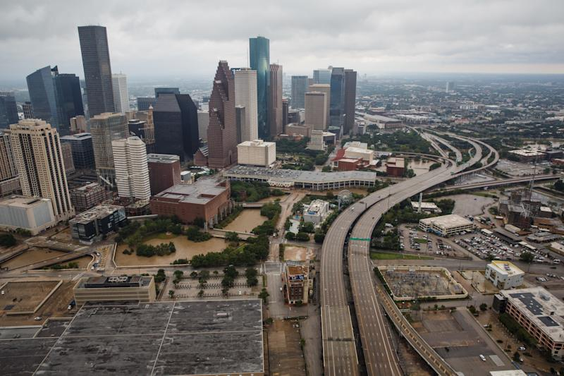 An aerial view of flooded downtown Houston on Aug. 29, 2017. (Marcus Yam/Getty Images)