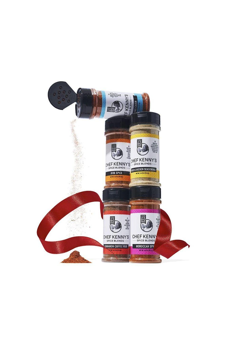 """<p><strong>Chef Kenny's Spice Blends</strong></p><p>amazon.com</p><p><strong>$39.99</strong></p><p><a href=""""https://www.amazon.com/dp/B08KJQ6R7F?tag=syn-yahoo-20&ascsubtag=%5Bartid%7C10070.g.34635986%5Bsrc%7Cyahoo-us"""" rel=""""nofollow noopener"""" target=""""_blank"""" data-ylk=""""slk:SHOP NOW"""" class=""""link rapid-noclick-resp"""">SHOP NOW</a></p><p>Most cooking starts before the ingredients even hit the pan, and the best home chefs always keep expertly blended seasonings stocked in their culinary arsenal. These rubs are the secret flavor bomb to instantly elevate your steaks, roasts, and chops. Oprah says the fried-chicken seasoning should be declared a national treasure. Count us in!</p>"""