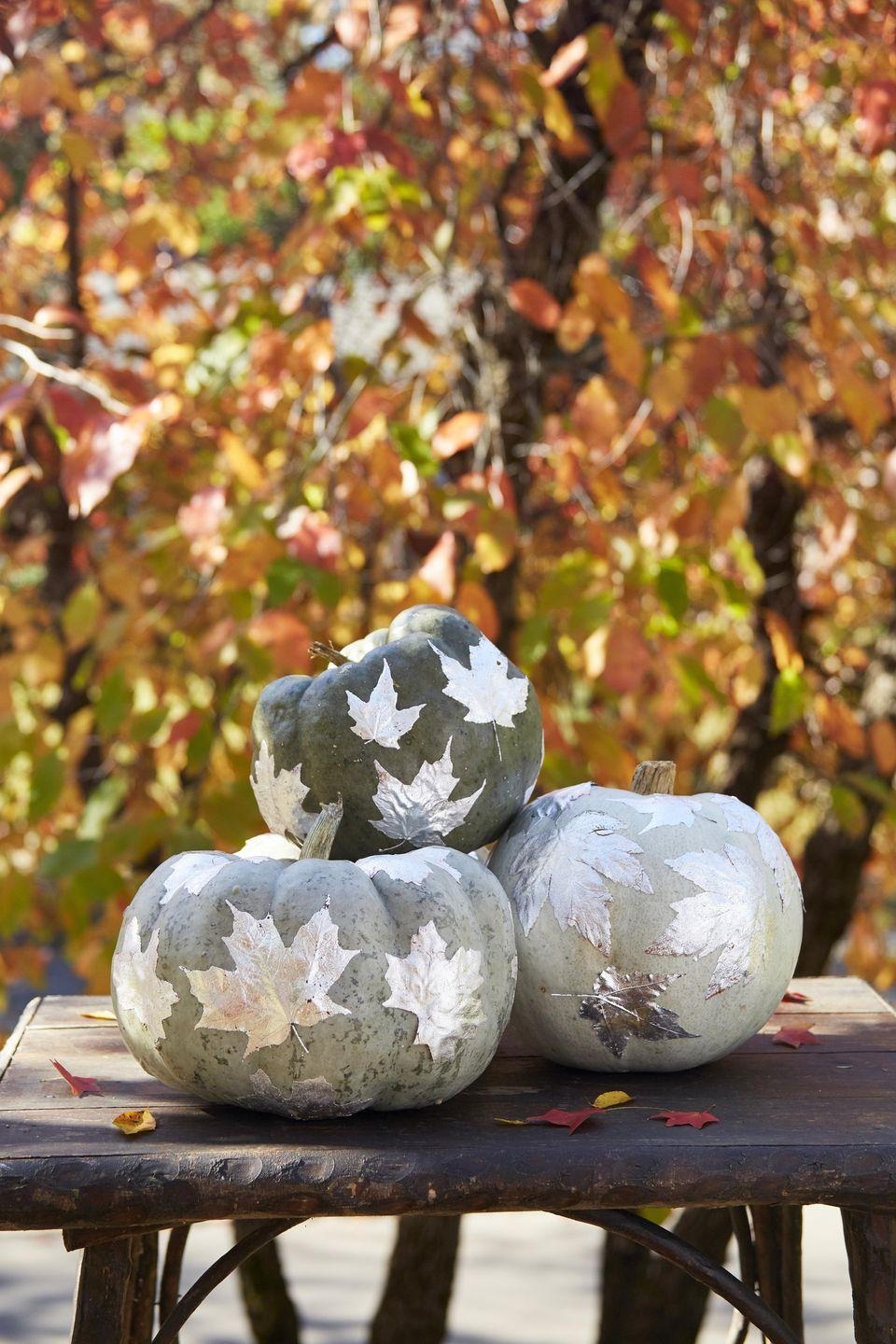 <p>These DIY shimmering leaves look great on blue-hued or green pumpkins such as Jarrahdale, Blue Doll, Blue Moon, and Fairytale.</p><p><strong>To make:</strong> Attach silver leaf with sizing to one side of fake or real leaves (alternatively, you can spray paint leaves silver). Once dry, spray adhesive spray on the back of the leaves and attach to pumpkins.</p>
