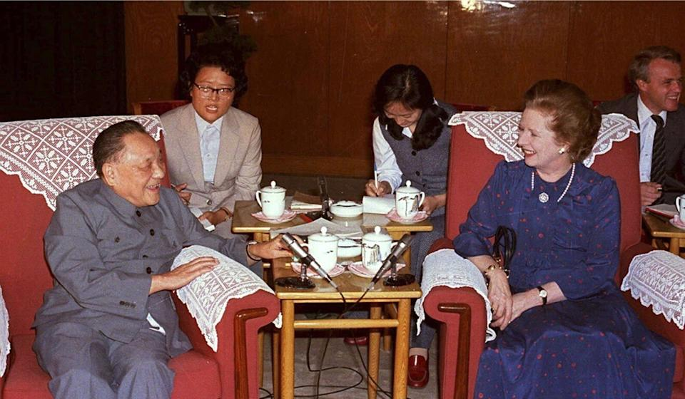 Deng Xiaoping with then British Prime Minister Margaret Thatcher at the Great Hall of the People in Beijing in September 1982. Photo: AFP