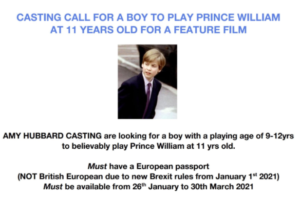 <p>The Prince William casting call announcement was posted on Twitter</p>Twitter