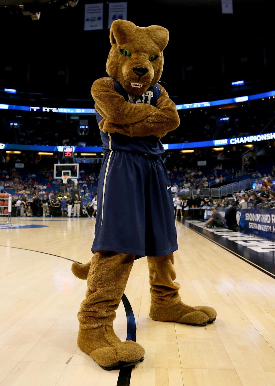 ORLANDO, FL - MARCH 20:  The Pittsburgh Panthers mascot poses before the Panthers take on the Colorado Buffaloes during the second round of the 2014 NCAA Men's Basketball Tournament at Amway Center on March 20, 2014 in Orlando, Florida.  (Photo by Mike Ehrmann/Getty Images)