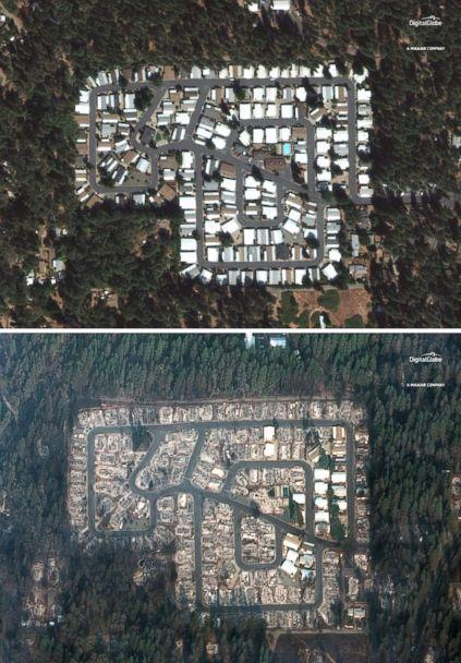 PHOTO: A Sept. 10, 2018, image of the Kilcrease circle community in Paradise, Calif., compared to a Nov. 17, 2018 image this area was destroyed by the deadly Camp Fire. (Satellite image/DigitalGlobe via Reuters)
