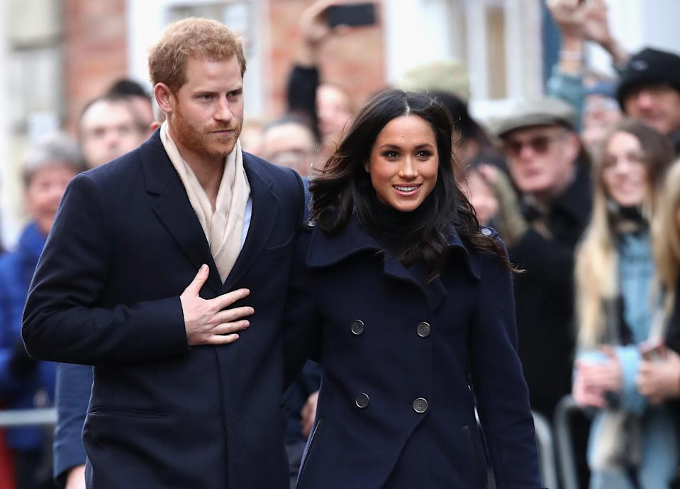Meghan on her first royal engagement with Harry in Nottingham in November 2017. [Photo: Getty]