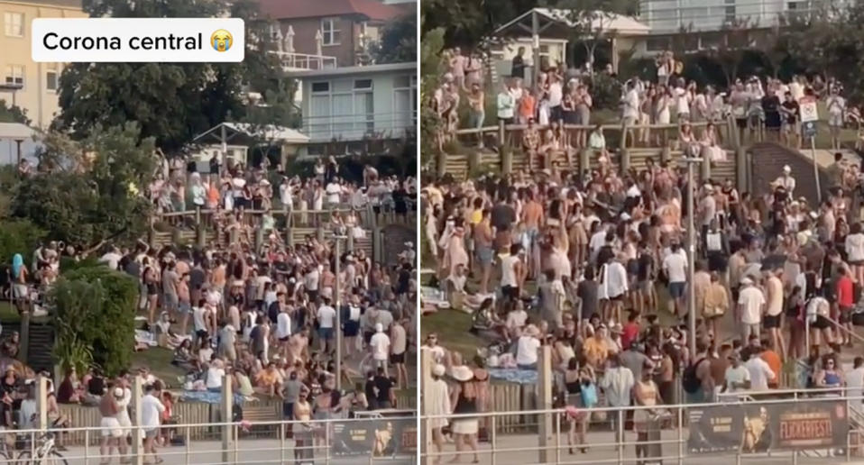 Video of the gathering appeared to show dozens of people enjoying the music in North Bondi. Source: TikTok/Oxana Alexandra