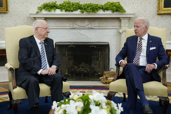 President Joe Biden meets with Israeli President Reuven Rivlin in the Oval Office of the White House in Washington, Monday, June 28, 2021. (AP Photo/Susan Walsh)