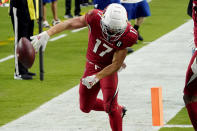 Arizona Cardinals wide receiver Andy Isabella (17) celebrates his touchdown against the Detroit Lions during the second half of an NFL football game, Sunday, Sept. 27, 2020, in Glendale, Ariz. (AP Photo/Rick Scuteri)