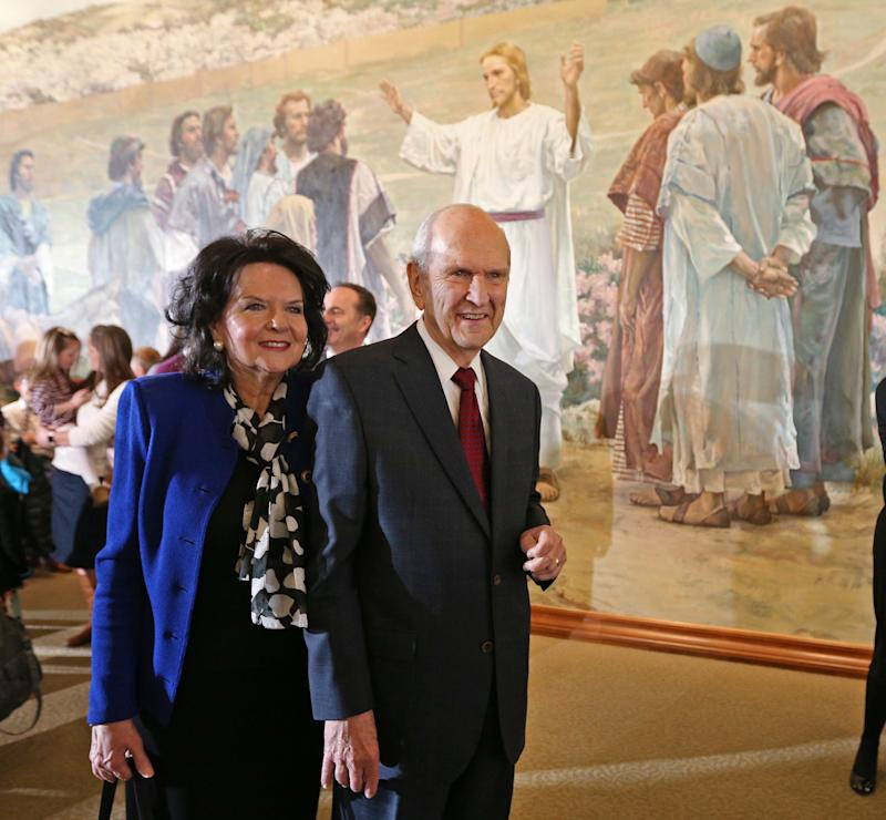 President Russell M. Nelson of the Church of Jesus Christ of Latter-Day Saints with his wife, Wendy L. Watson Nelson. (George Frey via Getty Images)