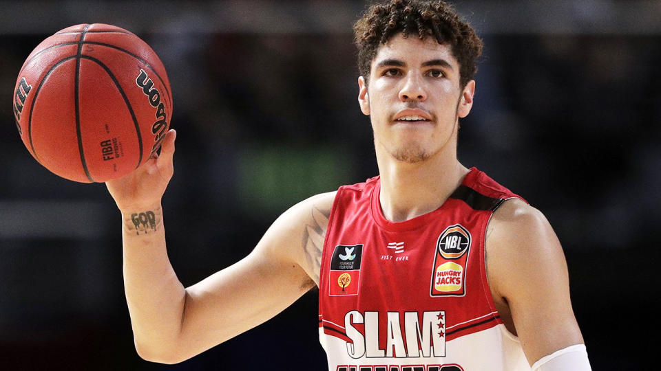 LaMelo Ball, pictured here in action for the Illawarra Hawks in 2019.