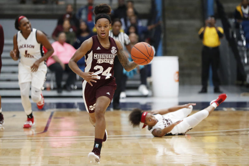 Mississippi State guard Jordan Danberry (24) leaves Jackson State players behind as she brings the ball up during the second half of an NCAA college basketball game Thursday, Nov. 21, 2019, in Jackson, Miss. Mississippi State won 92-53. (AP Photo/Rogelio V. Solis)
