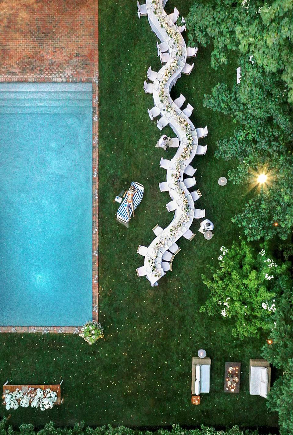 An amazing aerial photo captured with a drone by our videographer, Reeling Films. You can really see how we seated guests by quarantine pod from this angle!