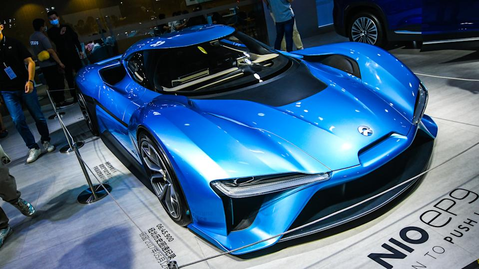 SHANGHAI, CHINA - OCTOBER 03: A Nio EP9 car is on display during 2020 Shanghai Pudong International Automotive Exhibition (Auto Pudong 2020) at Shanghai New International Expo Centre on October 3, 2020 in Shanghai, China. (Photo by Gao Yuwen/VCG via Getty Images)